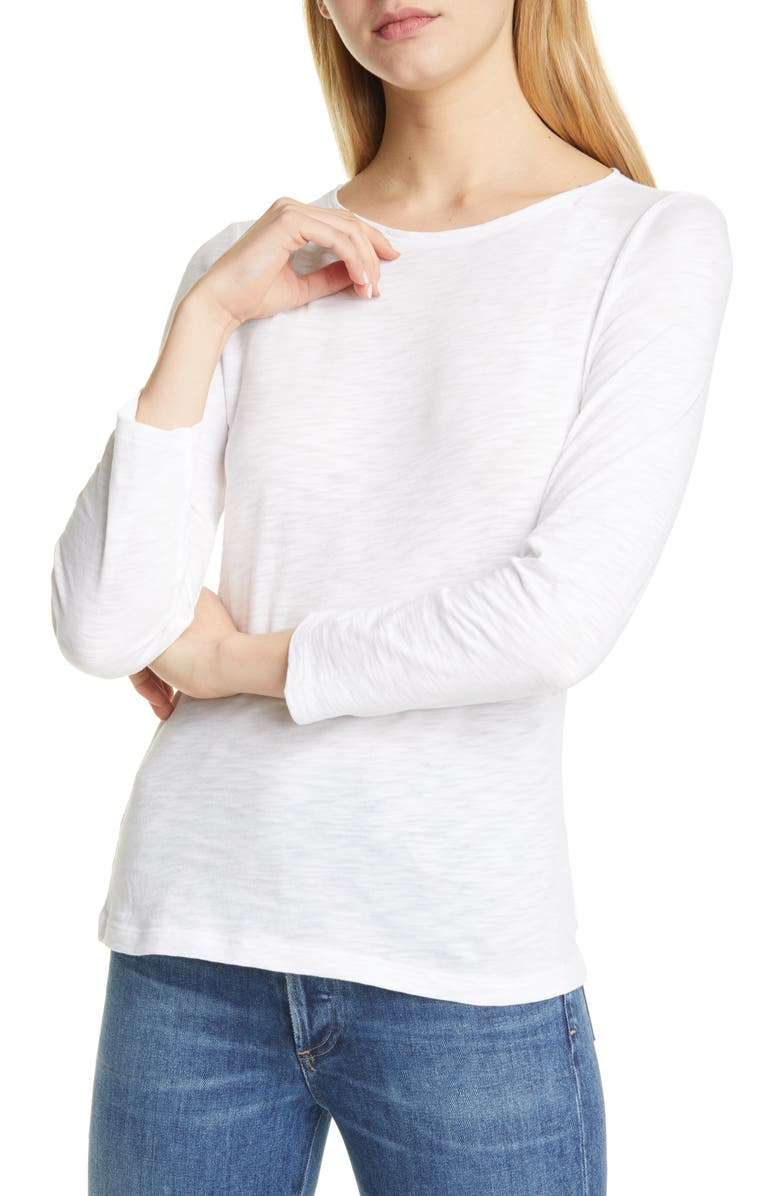 THEORY Nebulous Boat Neck Long Sleeve Organic Cotton Tee, Main, color, WHITE
