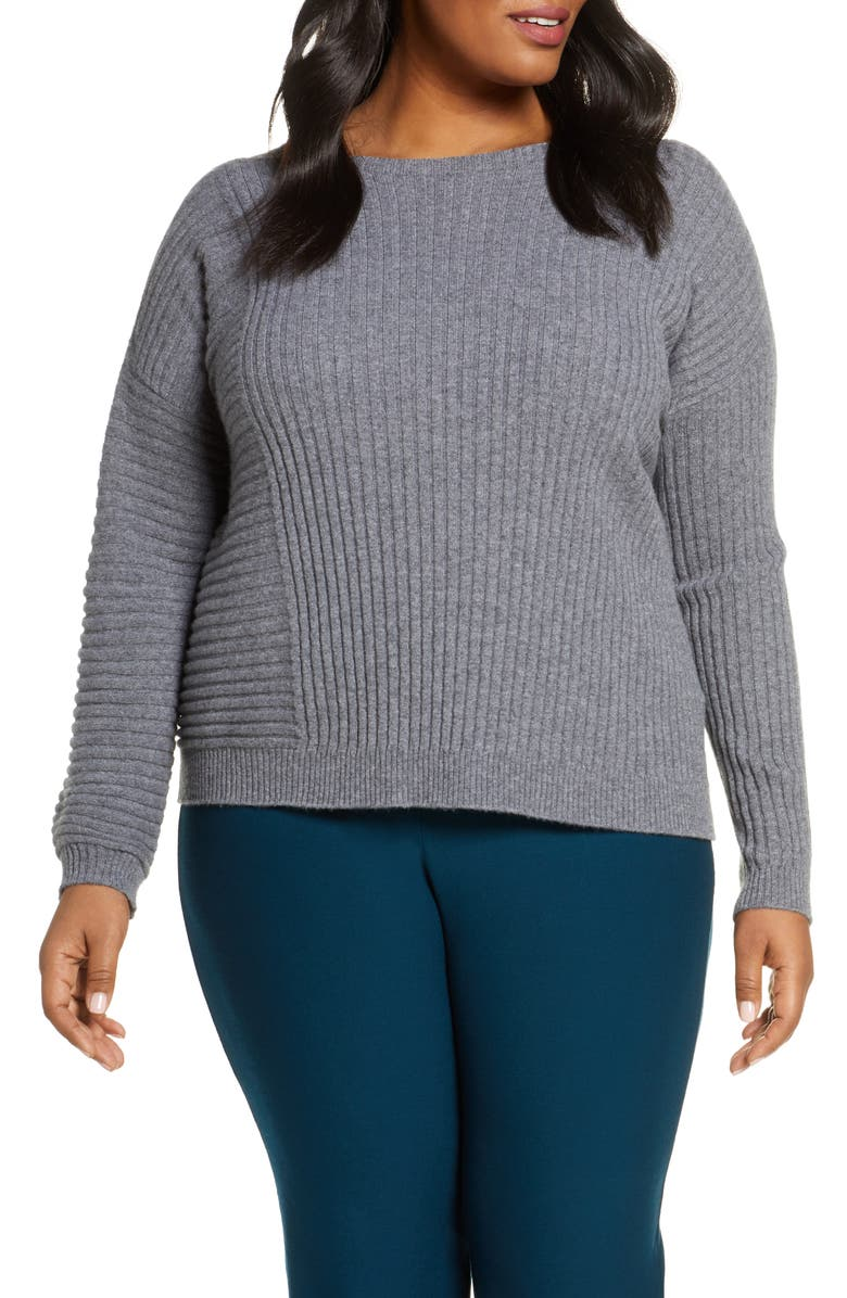 EILEEN FISHER Mix Rib Cashmere Sweater, Main, color, ASH