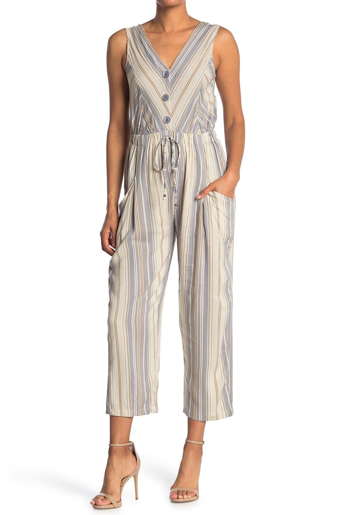Image of Angie Stripe Print Crop Jumpsuit