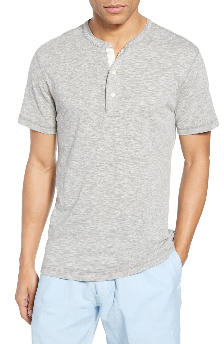 FAHERTY Short Sleeve Heathered Henley, Main, color, SLATE