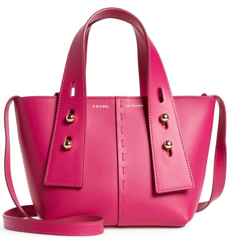 FRAME Mini Les Second Leather Crossbody Bag, Main, color, FUCHSIA