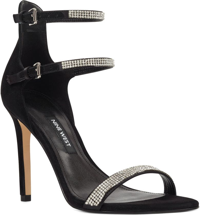 NINE WEST Iliana Ankle Strap Sandal, Main, color, BLACK SUEDE