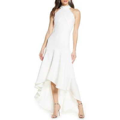 Ml Monique Lhuiller Crepe Halter High/low Gown, White