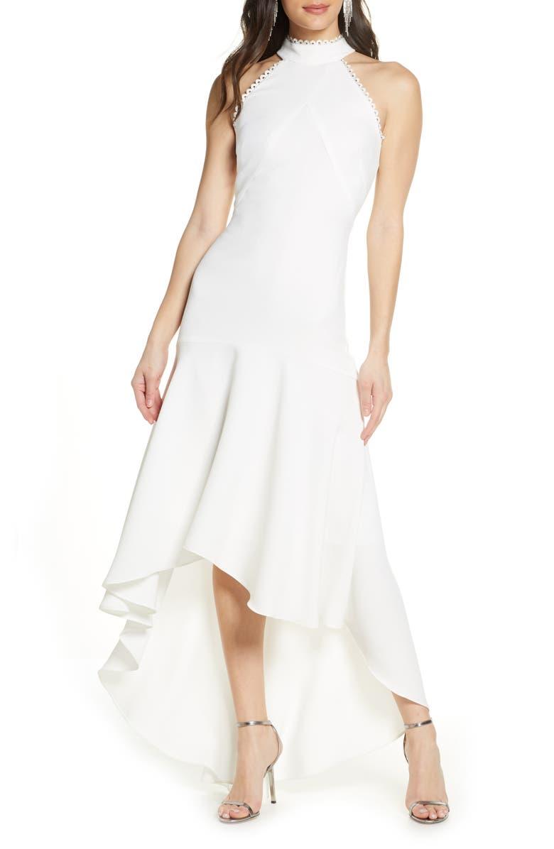 ML MONIQUE LHUILLIER ML Monique Lhuiller Crepe Halter High/Low Gown, Main, color, WHITE