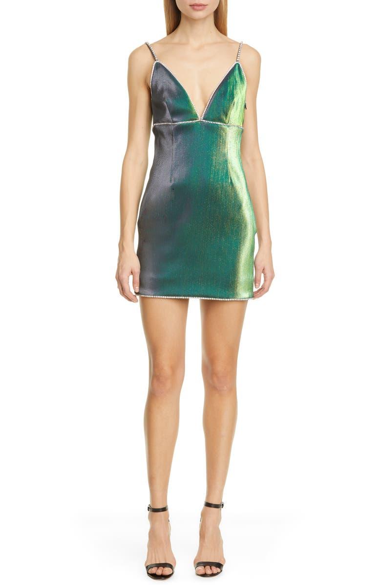 AREA Crystal Trim Minidress, Main, color, BEETLE GREEN