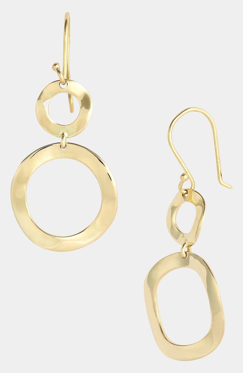 IPPOLITA 'Plain - Mini Snowman' 18k Gold Drop Earrings, Main, color, YELLOW GOLD