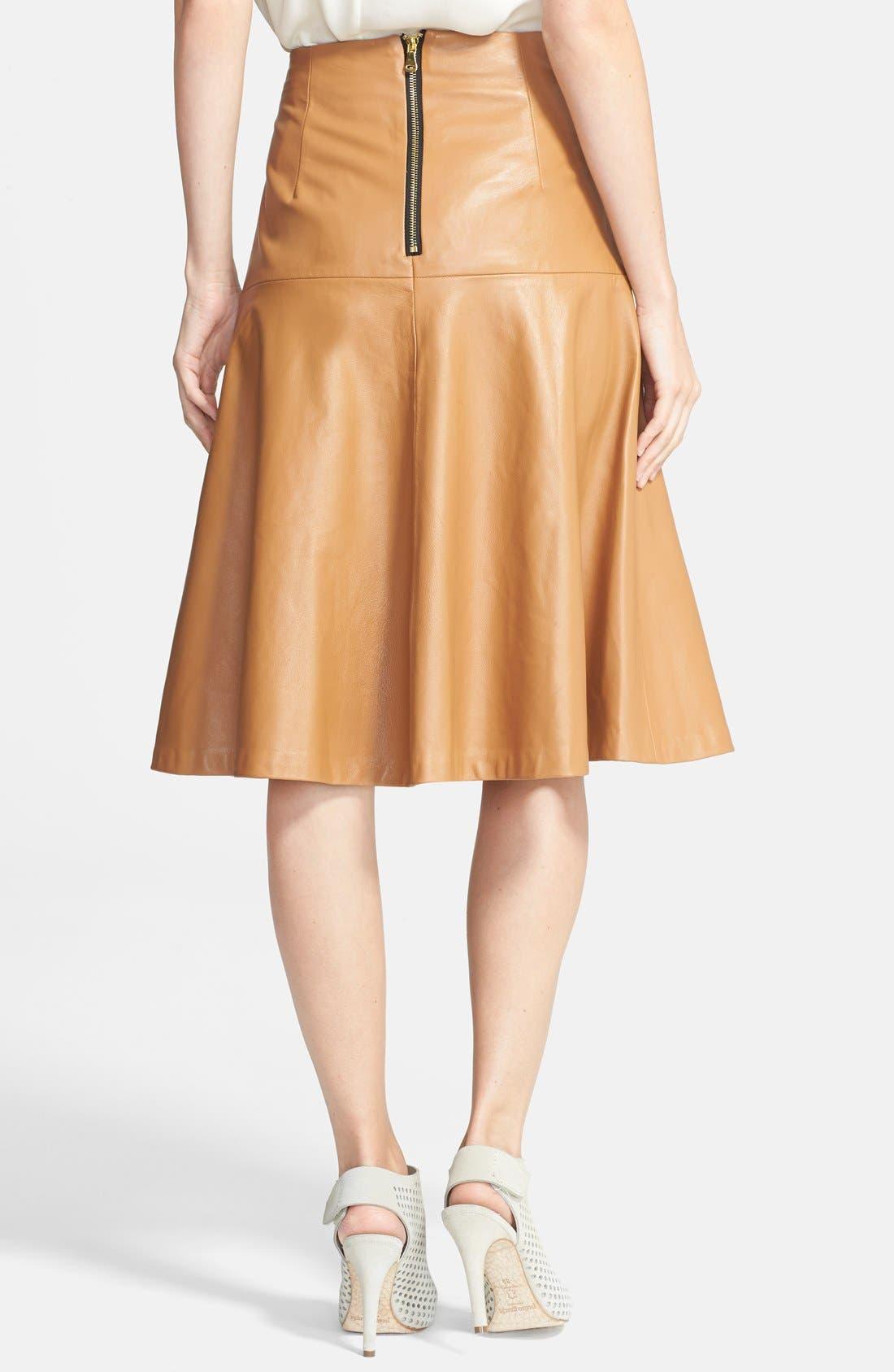 ,                             Leather Bell Skirt,                             Alternate thumbnail 3, color,                             250