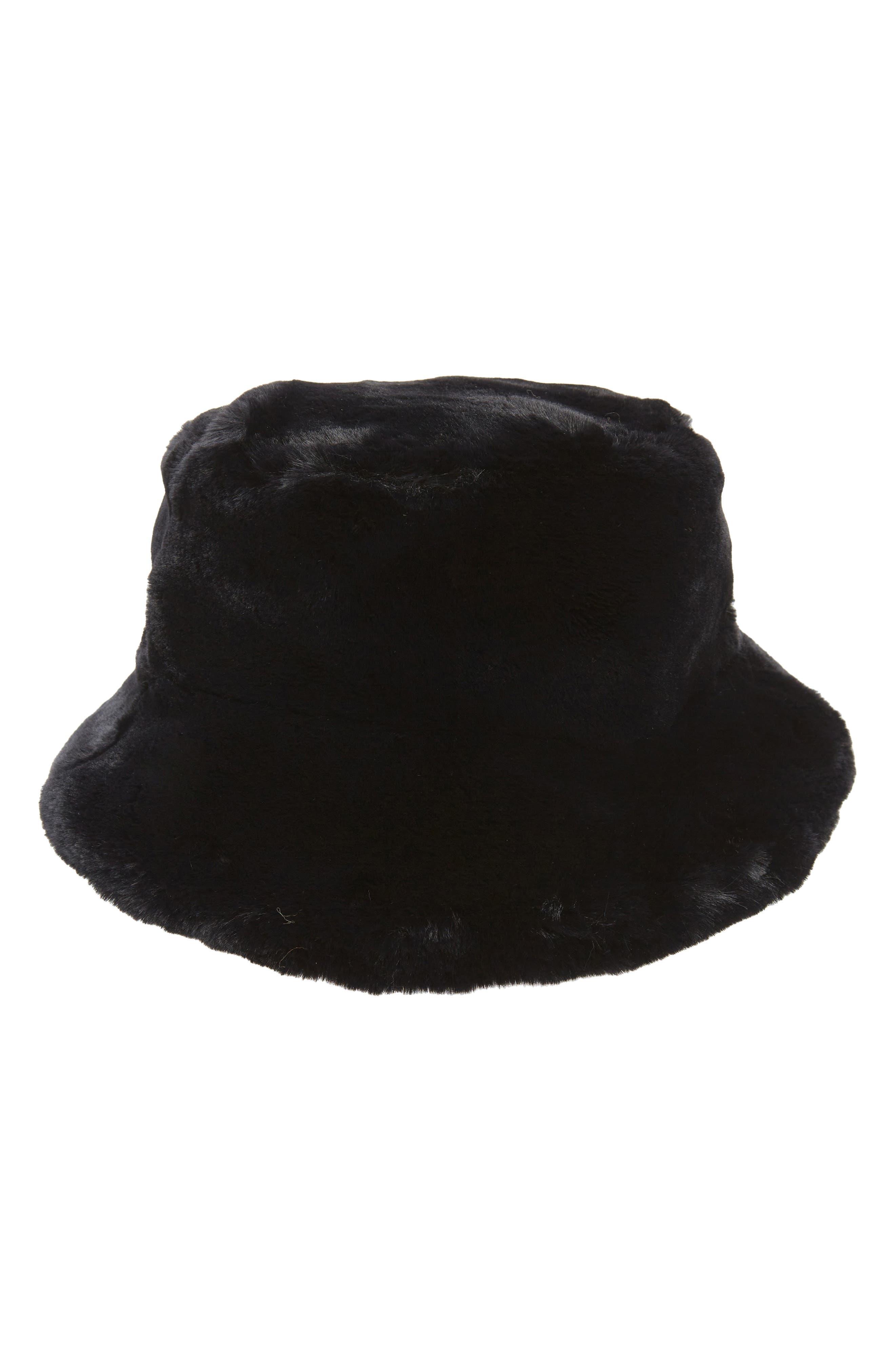 Heart Faux Fur Bucket Hat