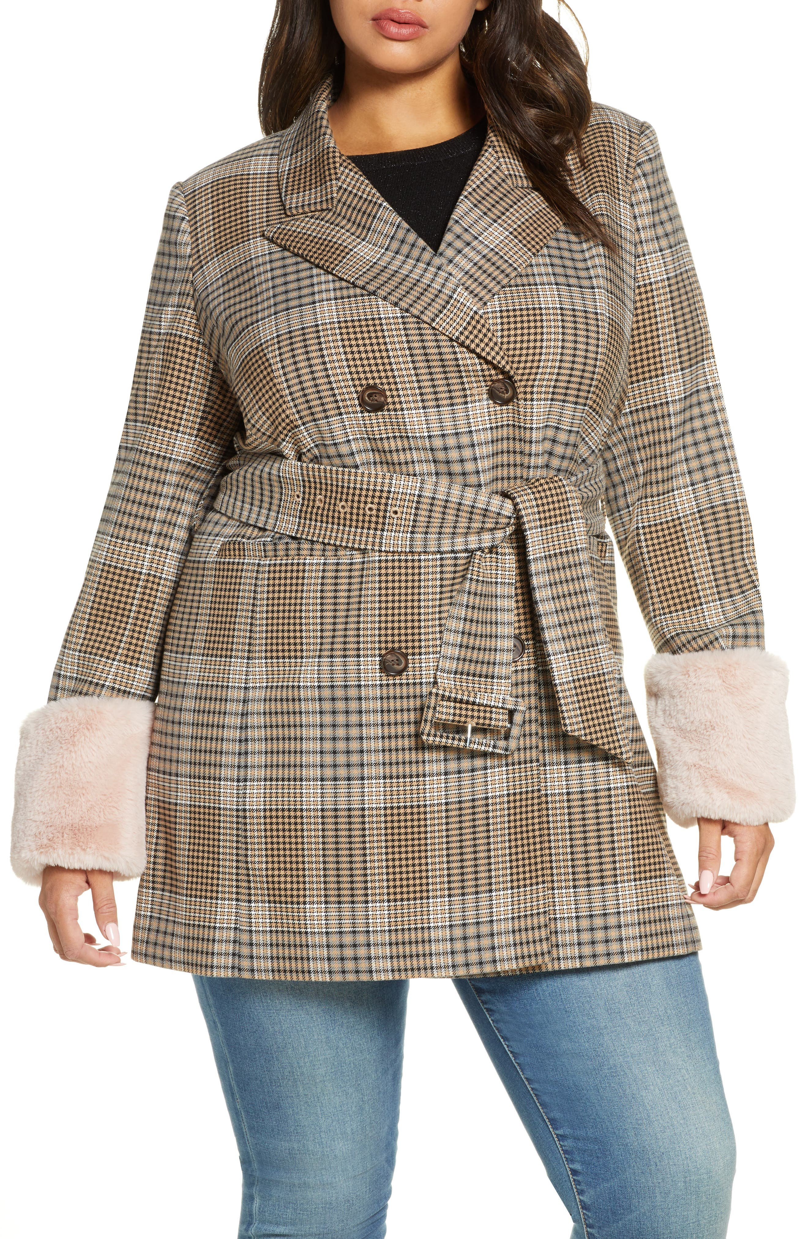 Image of Halogen X Atlantic-Pacific Faux Fur Cuff Plaid Coat