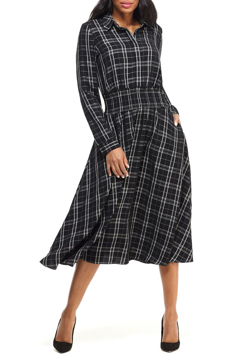 MAGGY LONDON Plaid Long Sleeve Shirtdress, Main, color, BLACK/ WHITE