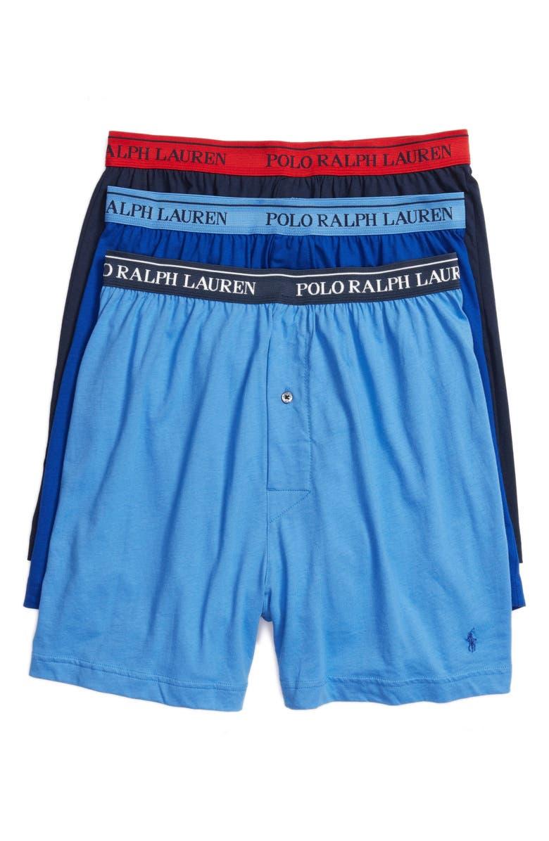 POLO RALPH LAUREN 3-Pack Cotton Boxers, Main, color, BLUES PACK