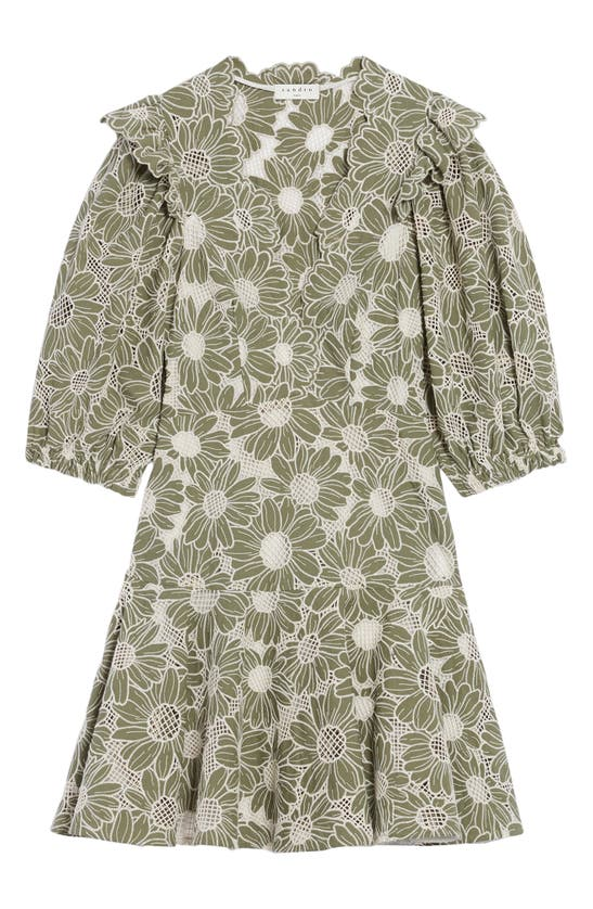 Sandro FLORAL EMBROIDERY COTTON A-LINE DRESS