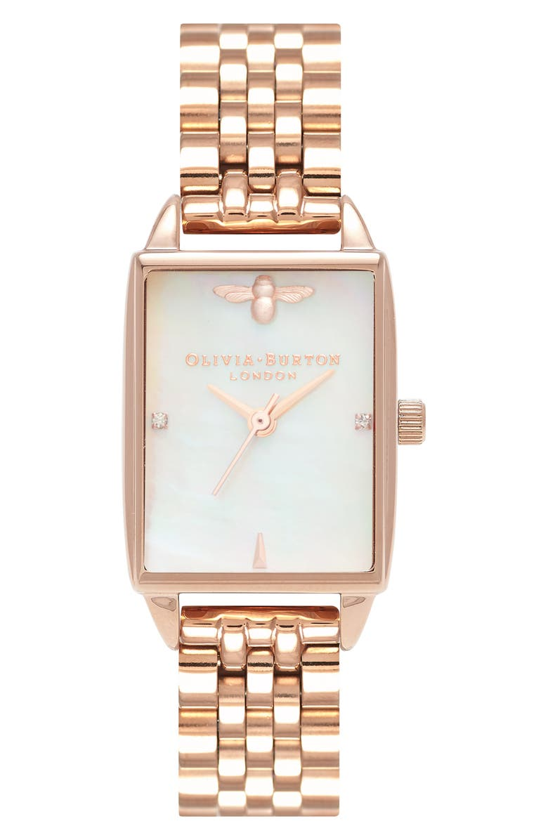 OLIVIA BURTON Beehive Bracelet Watch, 20mm, Main, color, ROSE GOLD/ MOP/ ROSE GOLD
