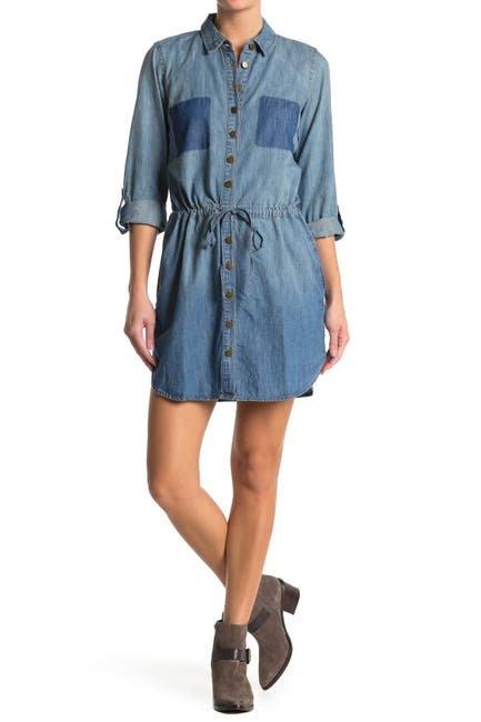 Image of Love Stitch Waist Tie Patch Pocket Denim Shirt Dress