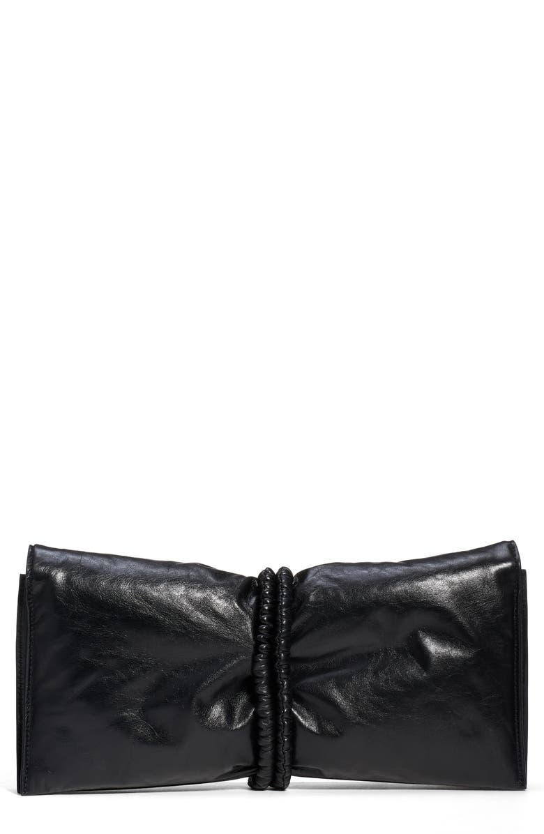 BOTTEGA VENETA Gathered Leather Clutch, Main, color, 002