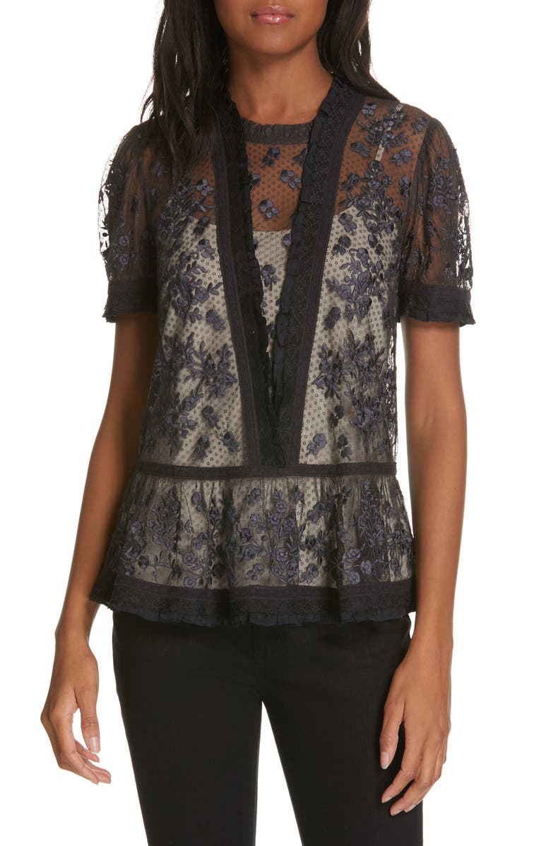 NEEDLE & THREAD Fortuny Lace Top, Main, color, 001