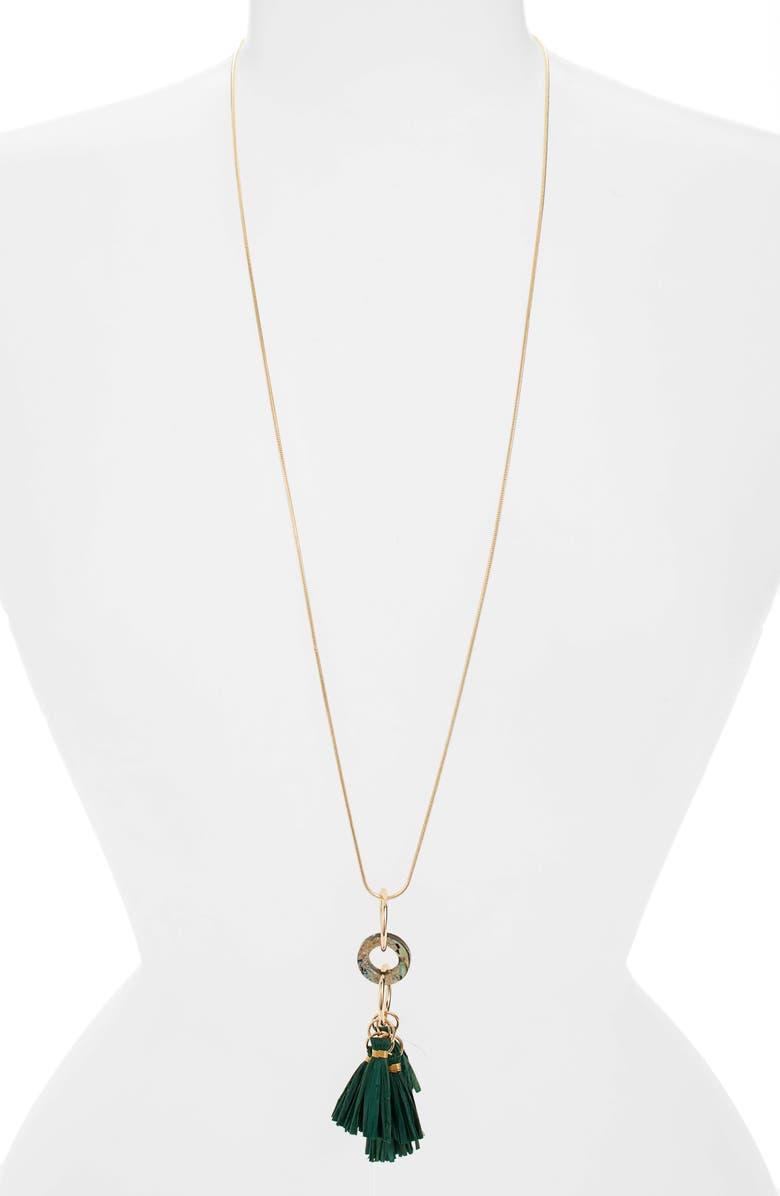 AKOLA Long Abalone & Raffia Tassel Necklace, Main, color, HUNTER