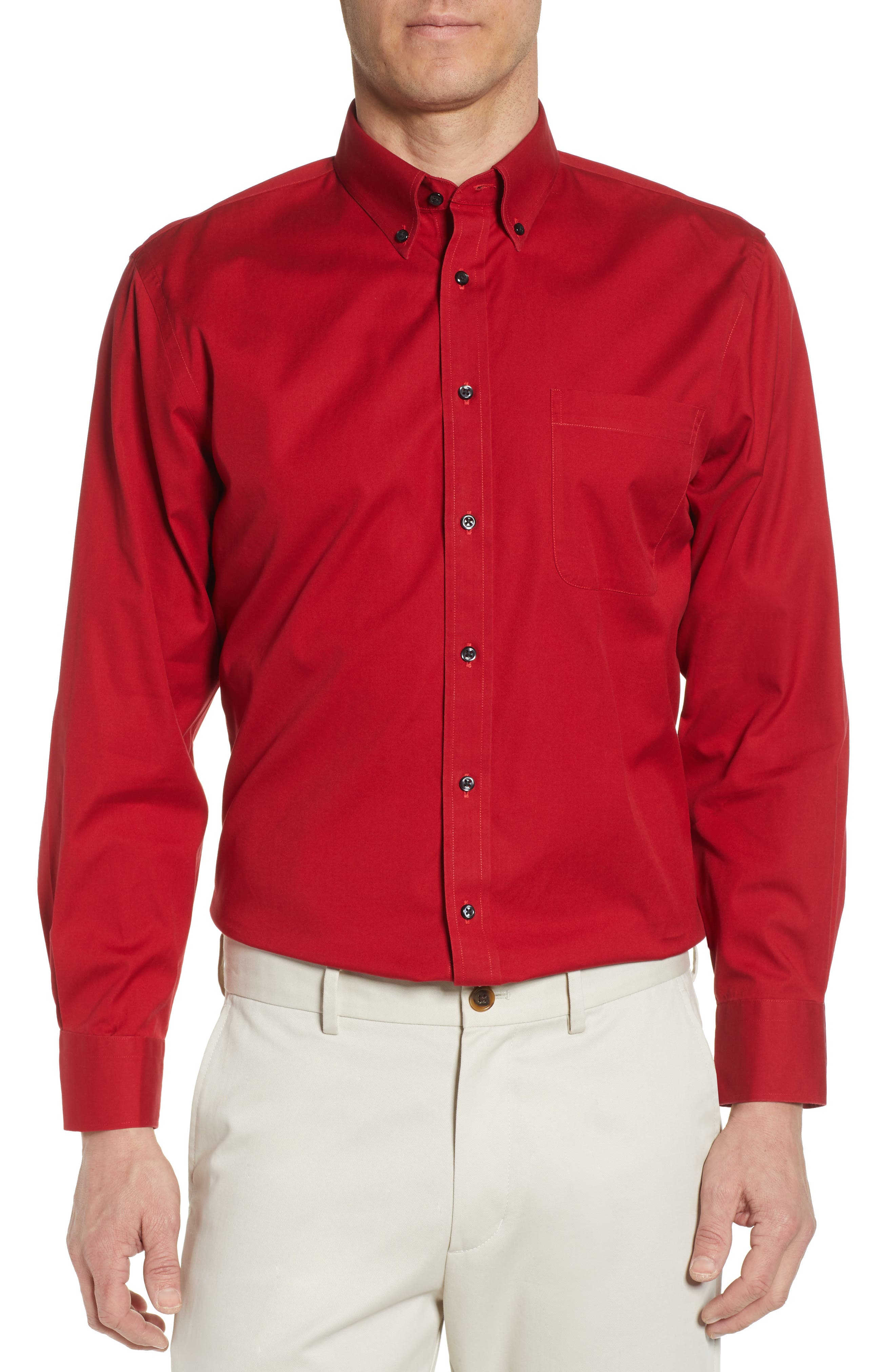 Nordstrom Shop Smartcare(TM) Traditional Fit Pinpoint Dress Shirt, 5.5 34/35 - Red
