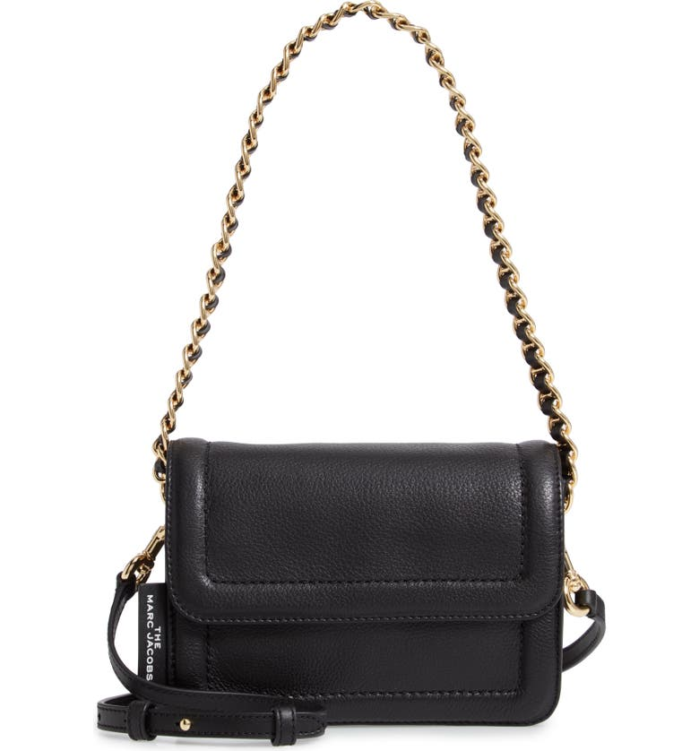 THE MARC JACOBS The Mini Cushion Leather Shoulder Bag, Main, color, BLACK
