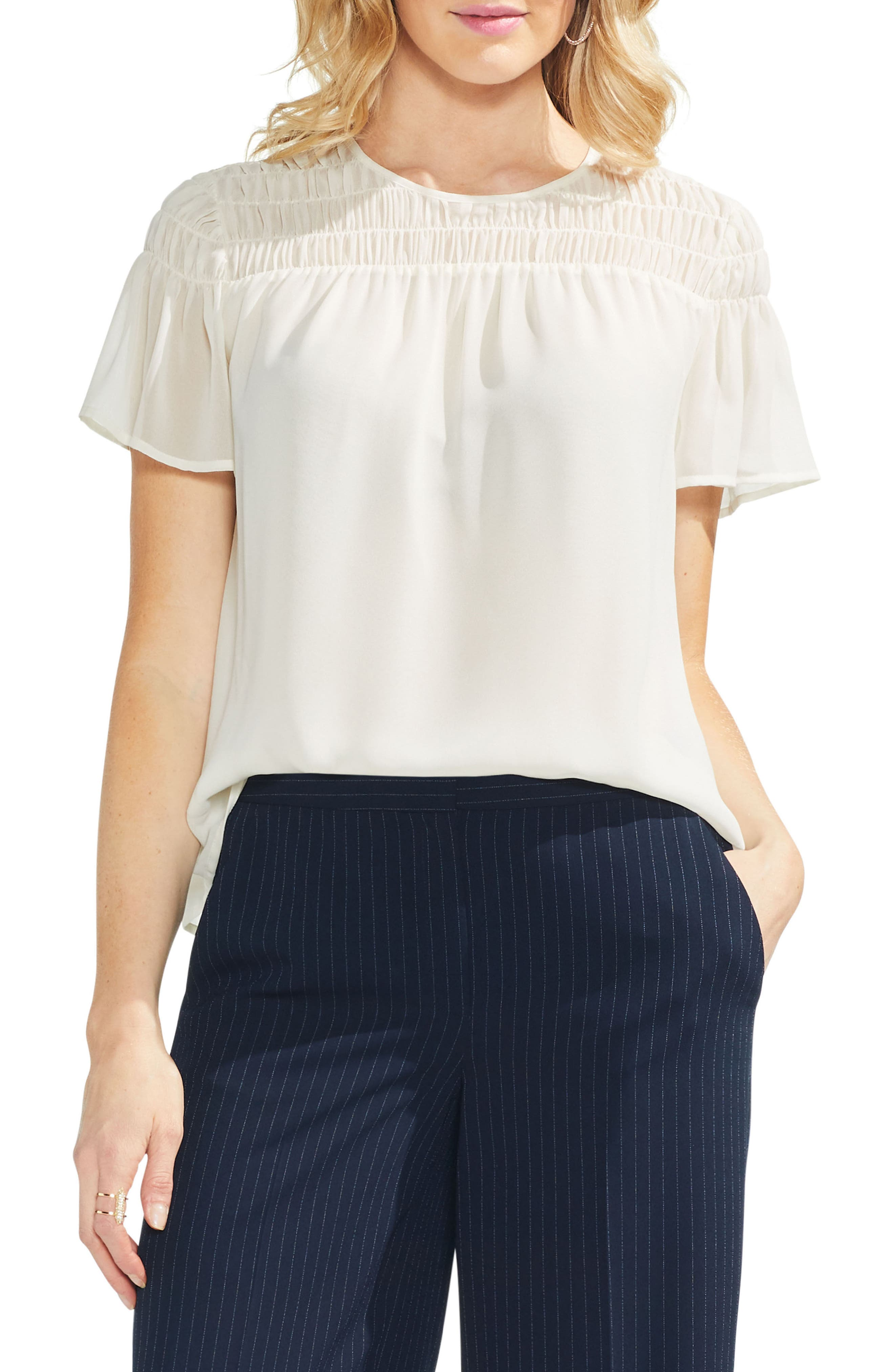 Image of Vince Camuto Smocked Blouse