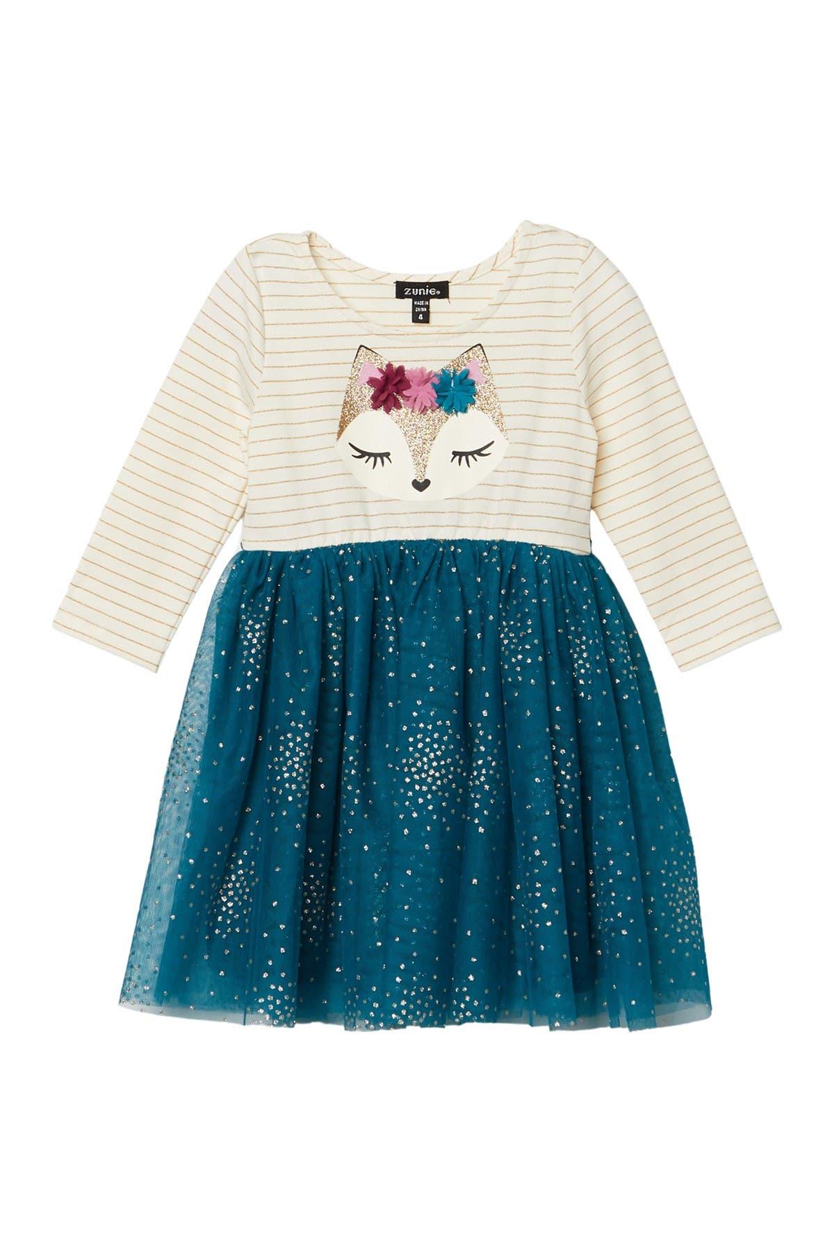 Image of Zunie Stripe Graphic Glitter Dress