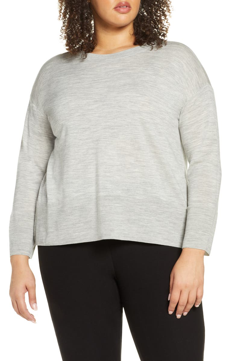 EILEEN FISHER Merino Wool Box Top Sweater, Main, color, DARK PEARL