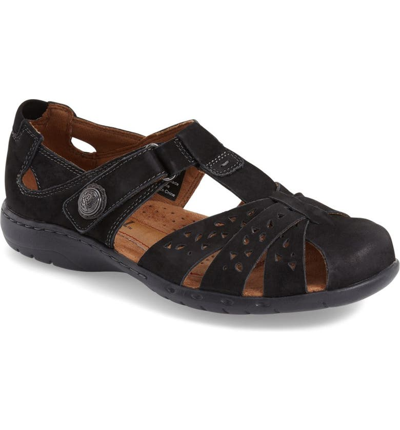 ROCKPORT COBB HILL 'Patina' Sandal, Main, color, BLACK LEATHER