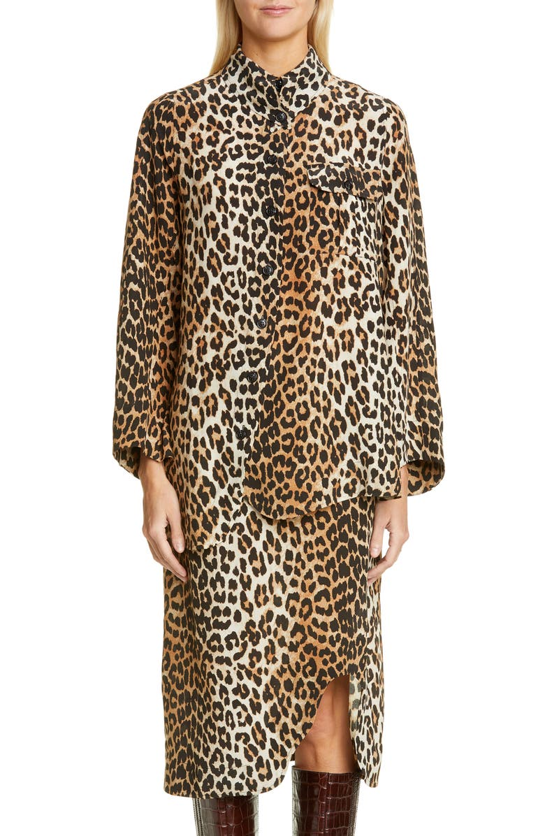 GANNI Leopard Print Shirt, Main, color, LEOPARD
