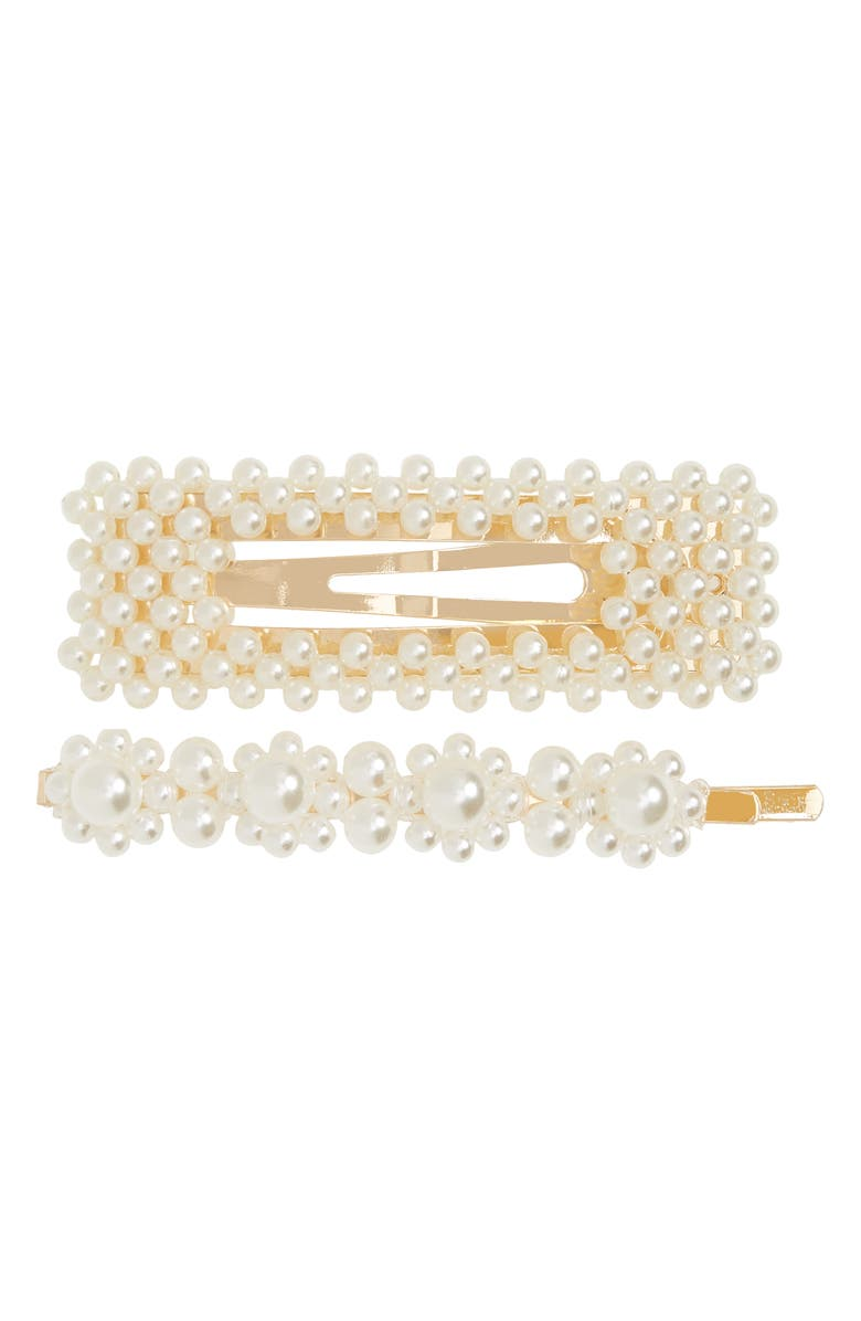 BP. Set of 2 Imitation Pearl Hair Clips, Main, color, IVORY