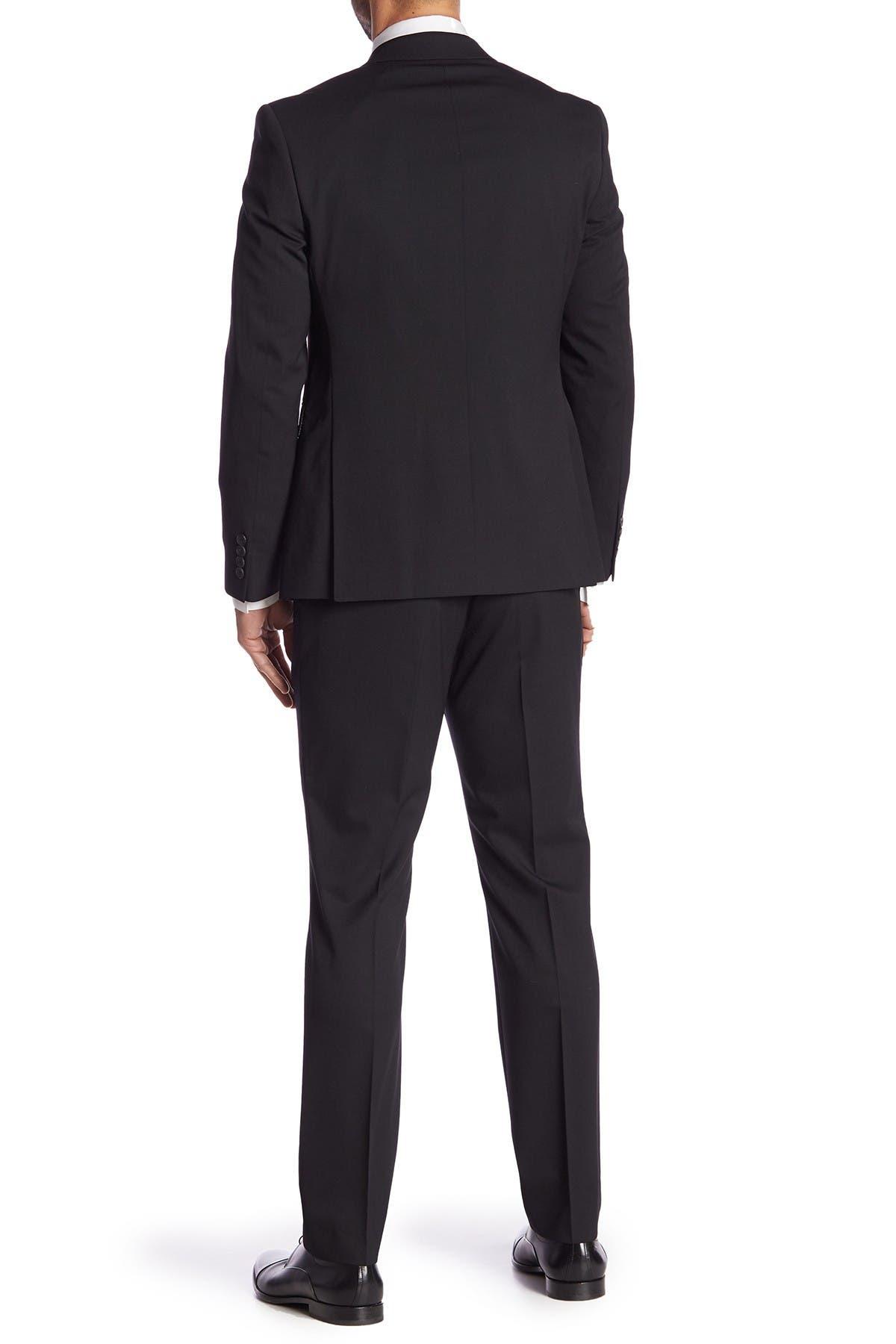 Image of Original Penguin Black Solid Two Button Notch Lapel Wool Blend Suit
