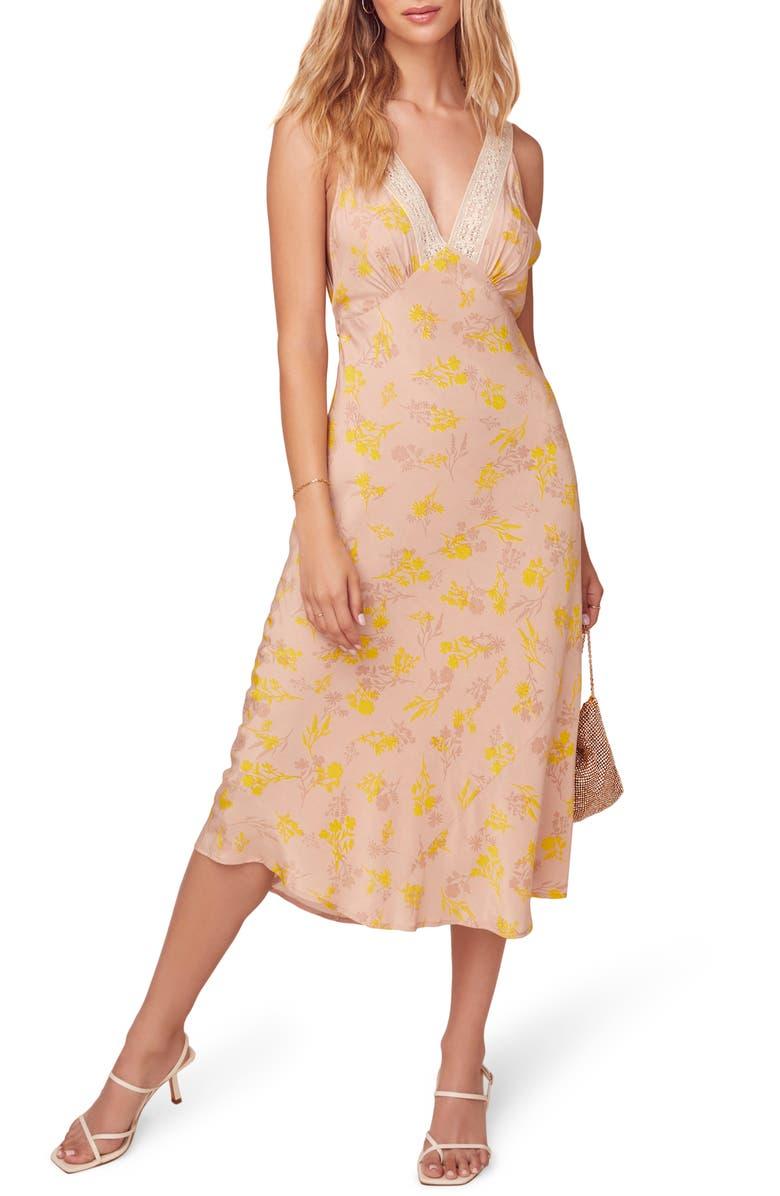 ASTR THE LABEL In Your Dreams Midi Dress, Main, color, MARIGOLD FLORAL