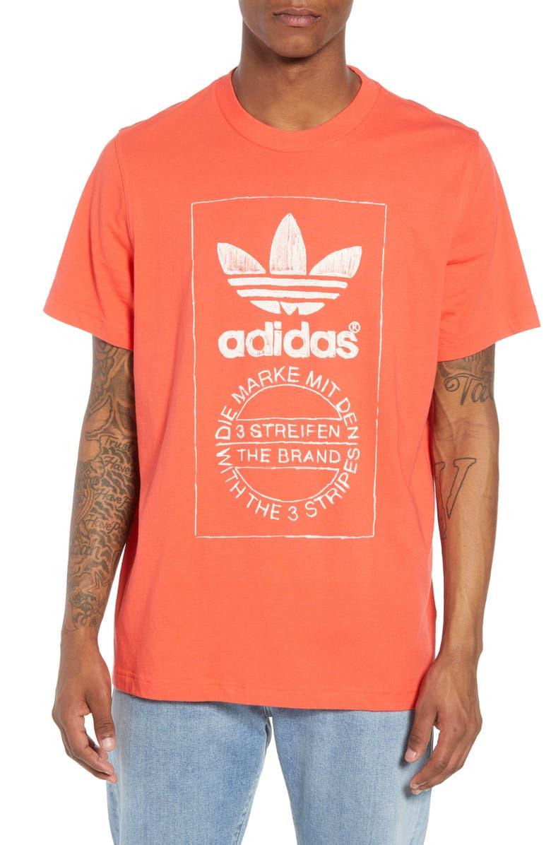 ADIDAS ORIGINALS Hand Drawn Logo T-Shirt, Main, color, 600