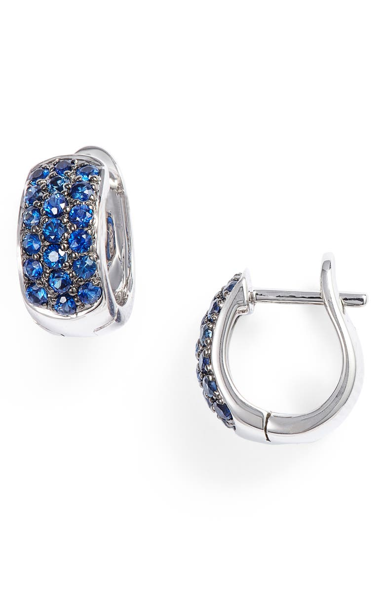 DANA REBECCA DESIGNS Wide Gem Huggie Earrings, Main, color, YELLOW GOLD/ BLUE SAPPHIRE
