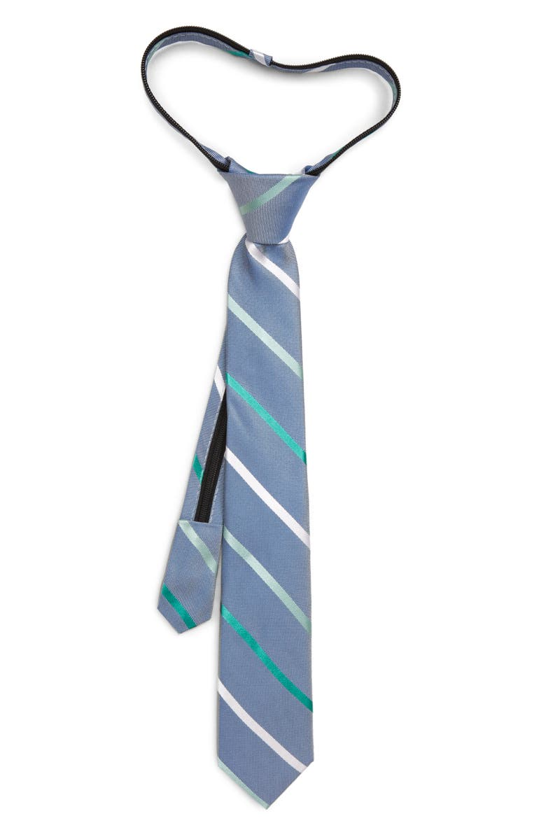 NORDSTROM Ruben Stripe Silk Zipper Tie, Main, color, GREEN
