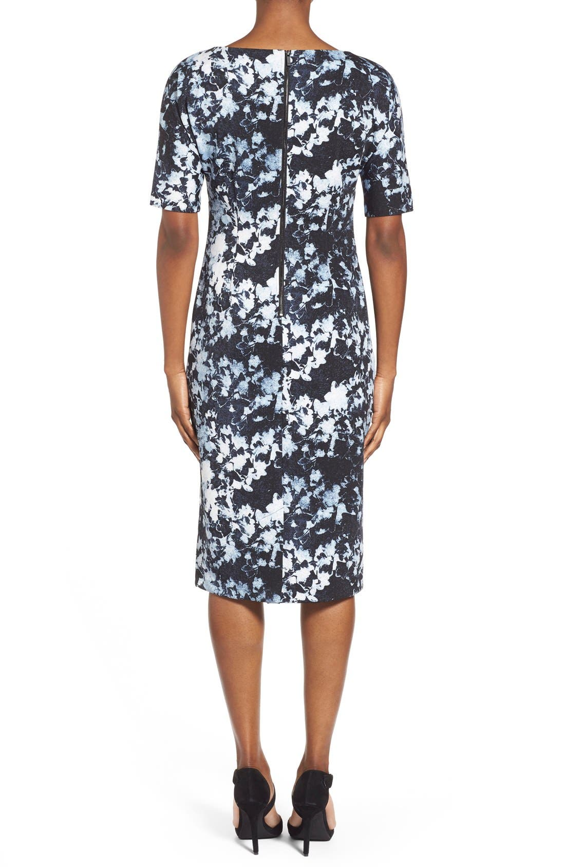 ,                             'Bustling Floral' Print Scuba Knit Sheath Dress,                             Alternate thumbnail 7, color,                             426