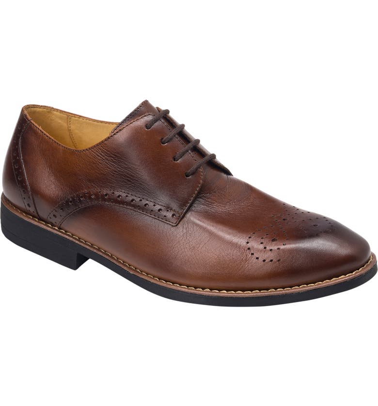SANDRO MOSCOLONI Mended Medallion Toe Derby, Main, color, BROWN LEATHER