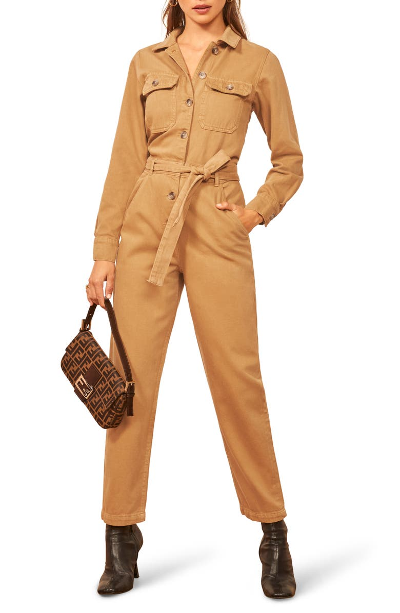 REFORMATION Kendall Cotton Boilersuit, Main, color, DESERT