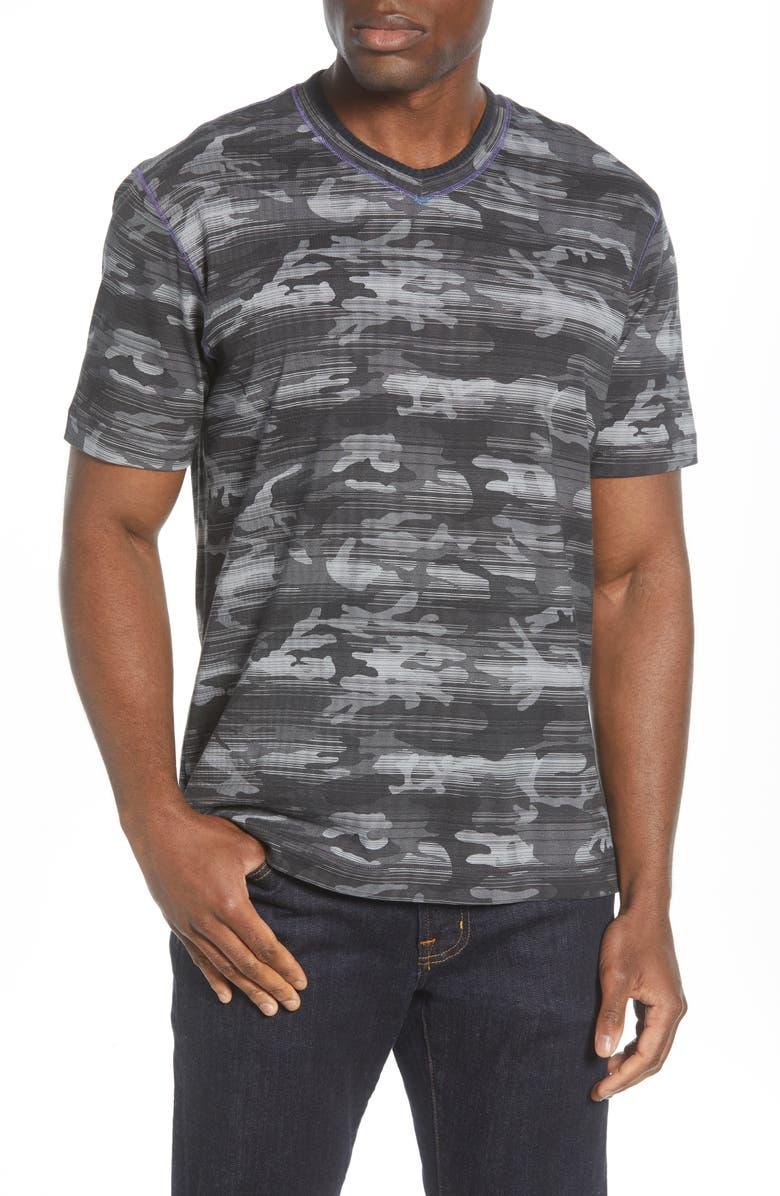 ROBERT GRAHAM Rhodes V-Neck T-Shirt, Main, color, CHARCOAL