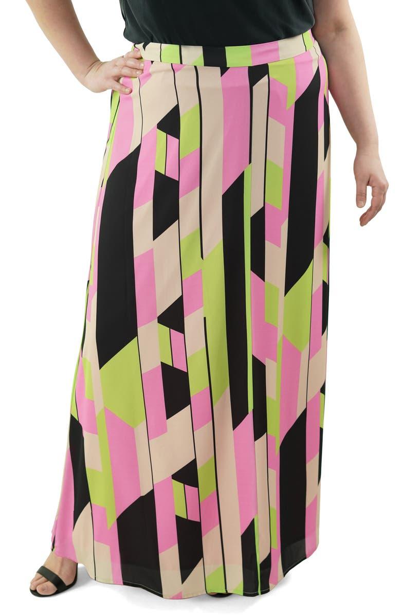 MARÉE POUR TOI Geometric Maxi Skirt, Main, color, TAN
