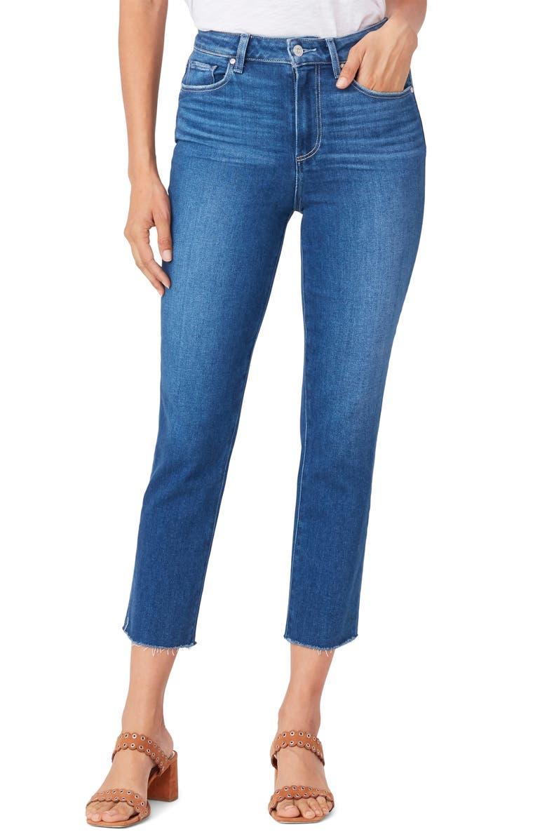 PAIGE Sarah High Waist Raw Hem Crop Slim Jeans, Main, color, STARCROSSED