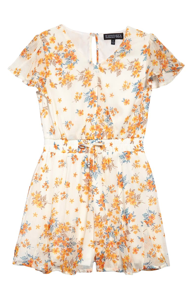TRIXXI GIRL Floral Faux Wrap Romper, Main, color, IVORY/ YELLOW