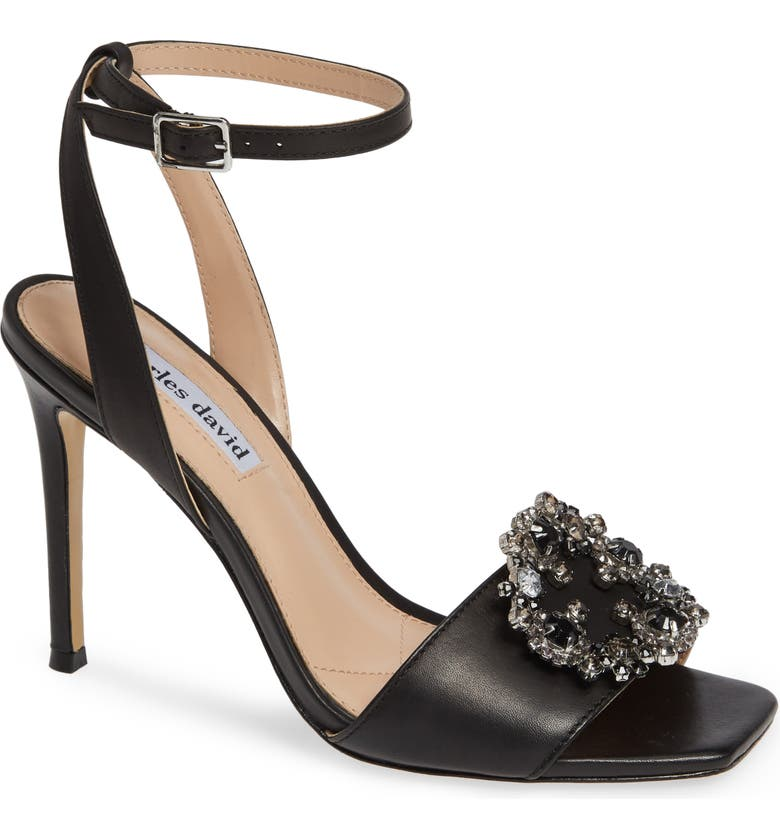 CHARLES DAVID Vanity Crystal Embellished Sandal, Main, color, BLACK LEATHER