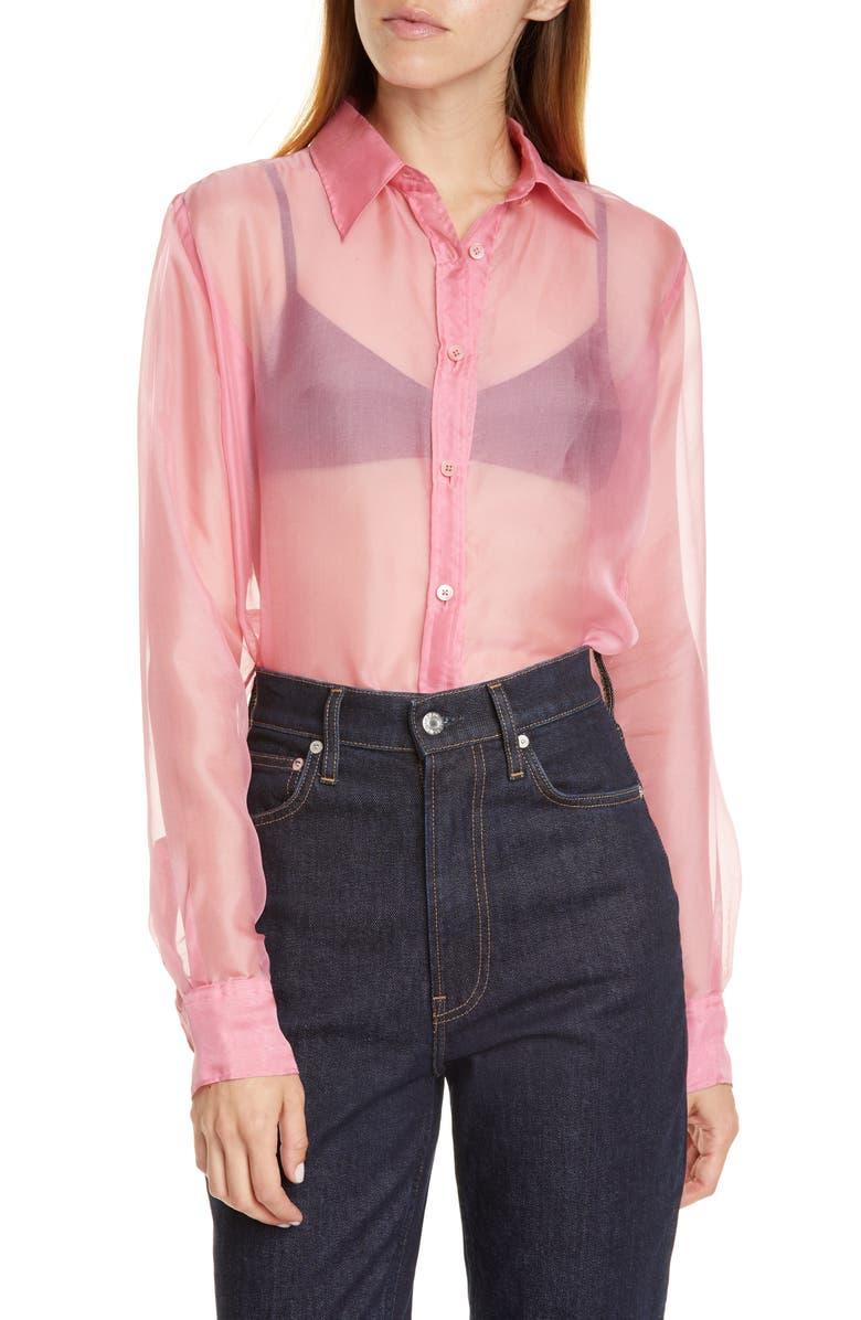 HELMUT LANG Silk Organza Shirt, Main, color, PINK