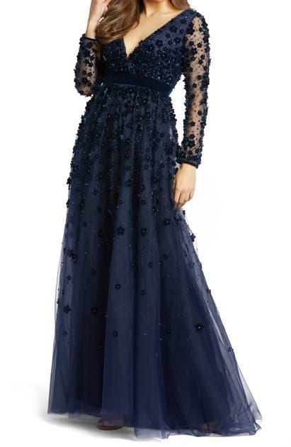 Mac Duggal Velvet Floral Applique Long Sleeve Gown In Navy