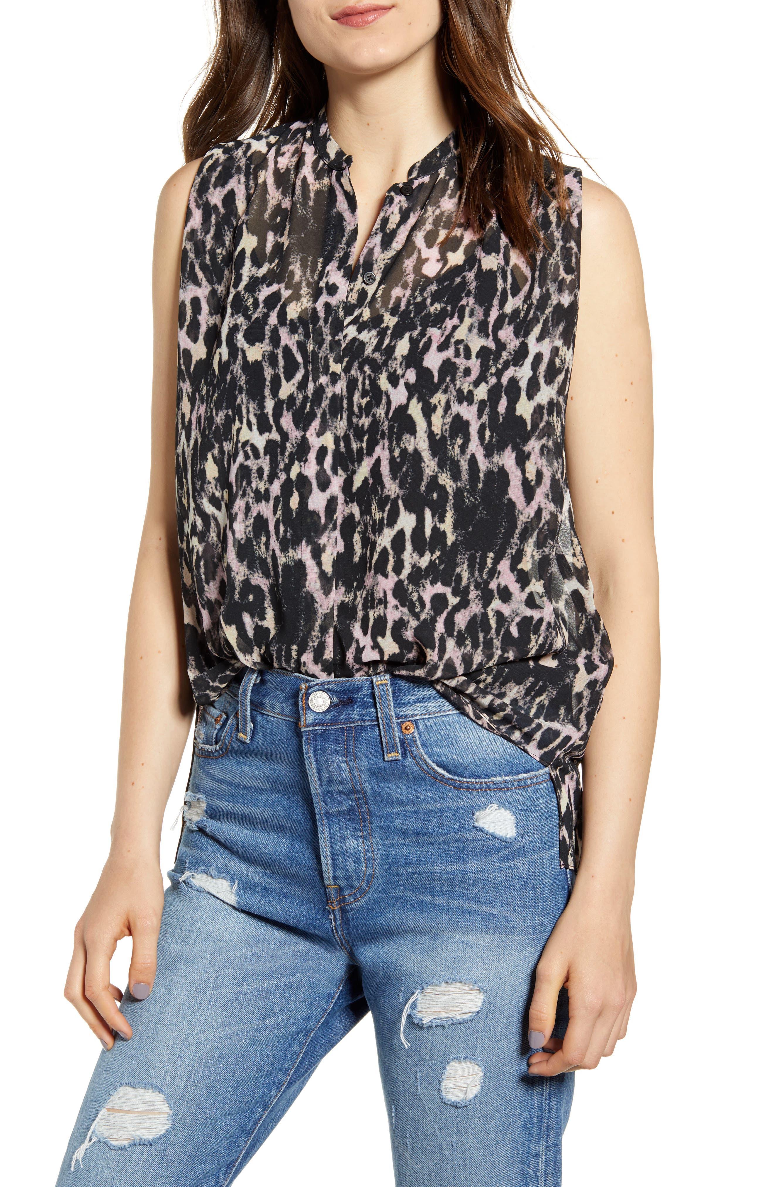 Allsaints Wing Leopard Print Sleeveless Shirt, Black