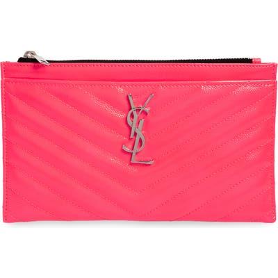 Saint Laurent Monogram Matelasse Leather Pouch - Pink