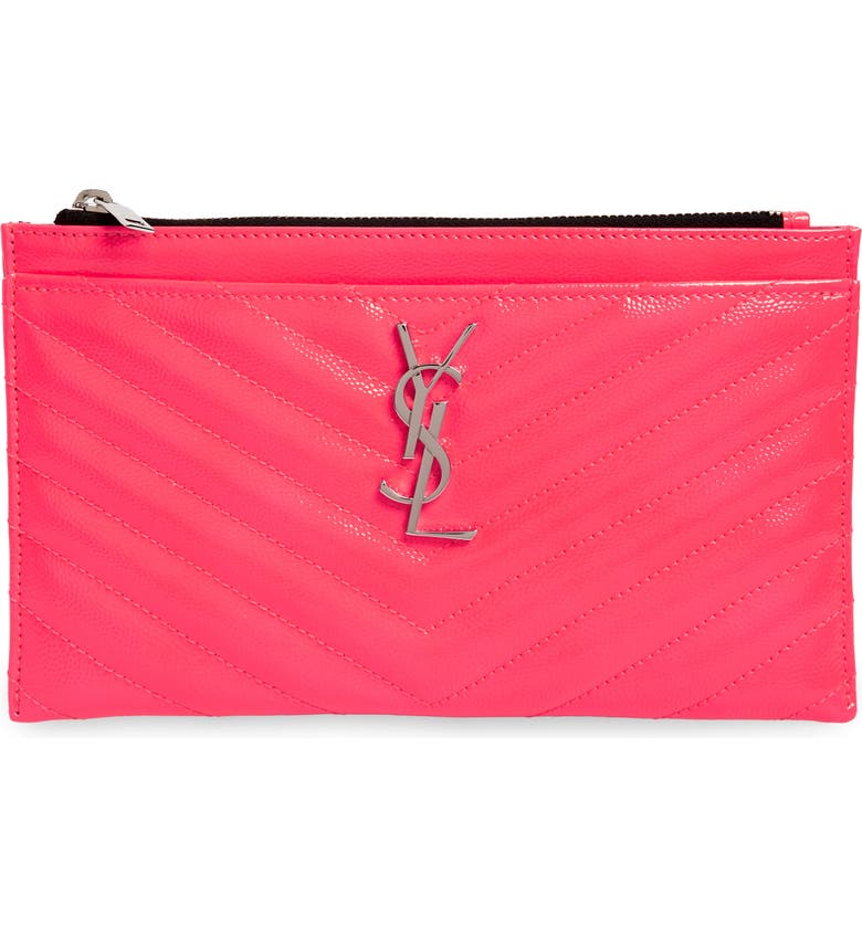 SAINT LAURENT Monogram Matelassé Leather Pouch, Main, color, NEON PINK