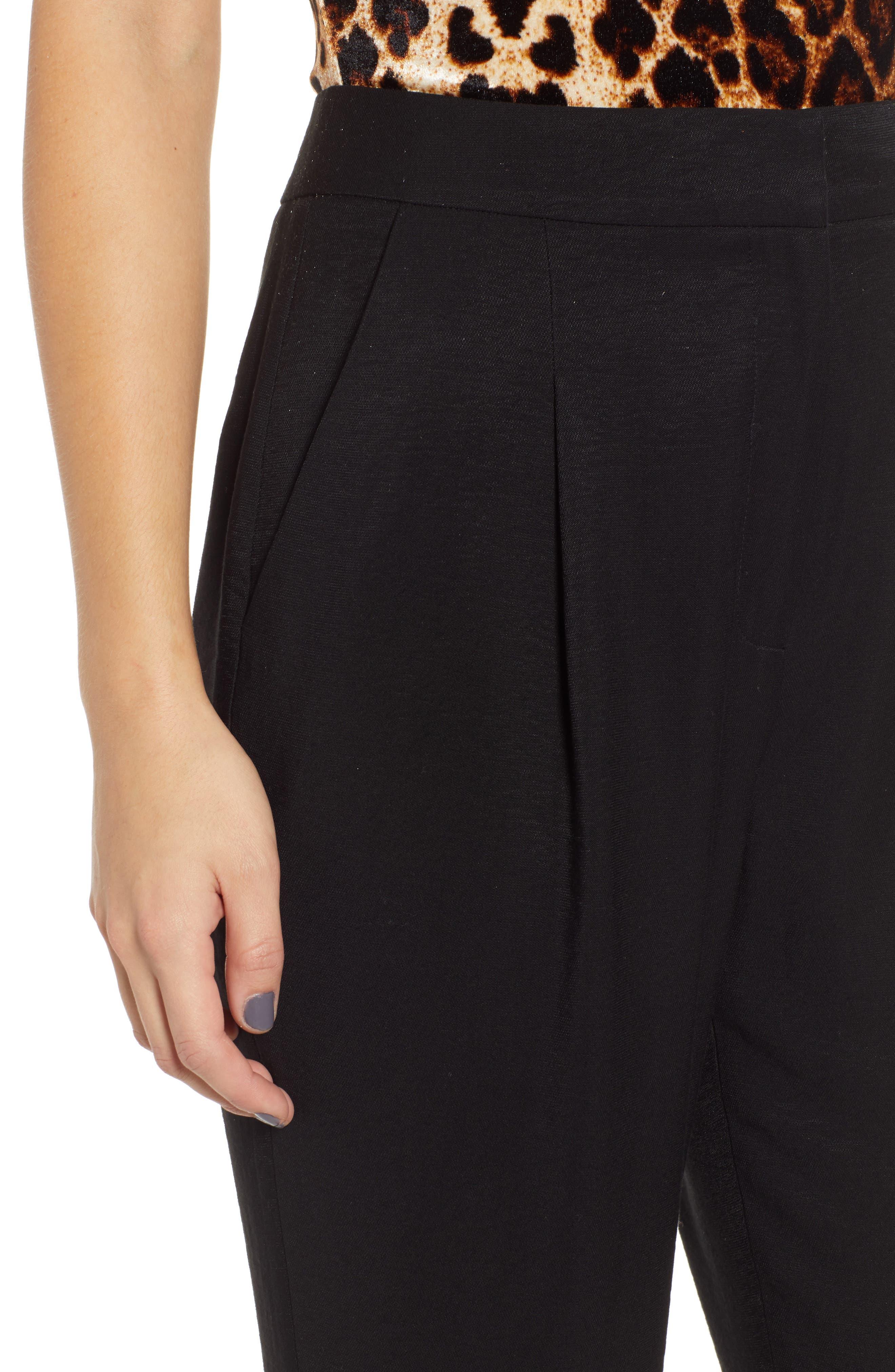,                             Pleat High Waist Ankle Pants,                             Alternate thumbnail 4, color,                             BLACK