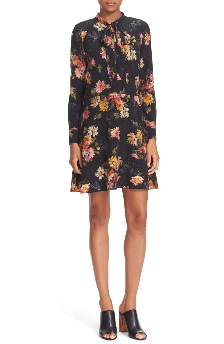 THE KOOPLES Floral Print Silk Dress, Main, color, 001
