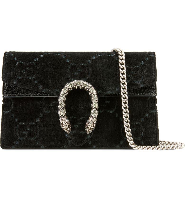 GUCCI Supermini Dionysus Double G Velvet Shoulder Bag, Main, color, NERO/ NERO/ BLACK DIAMOND